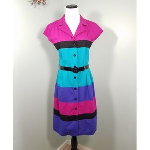 💜💙💗VTG 90s Color Block Button Down Dress